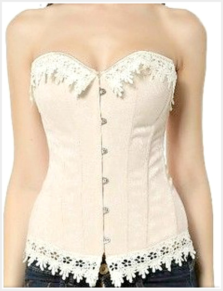 CORSET - Cream Teardrop Lace Trim Dusty Pink Floral Brocade Lace Up Back Corset Top 3X & 5X