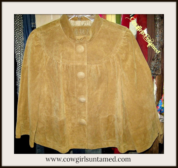 COWGIRL GYPSY JACKET Cropped Button Front Lined 3/4 Sleeve Tan GENUINE Suede Leather Western Jacket