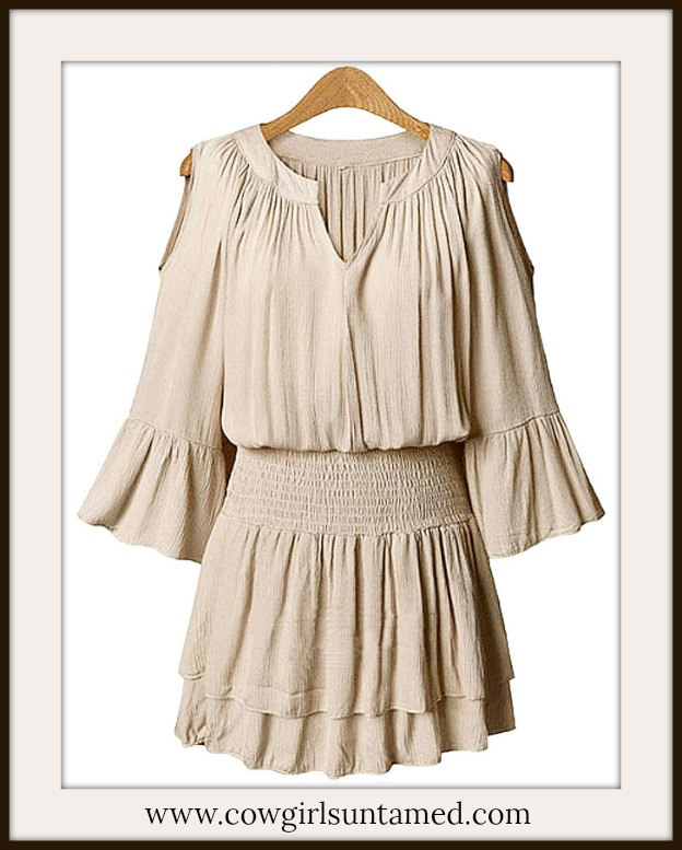 COWGIRL GYPSY DRESS Beige Chiffon Ruffle Sleeve Cold Shoulder Tiered Mini Dress