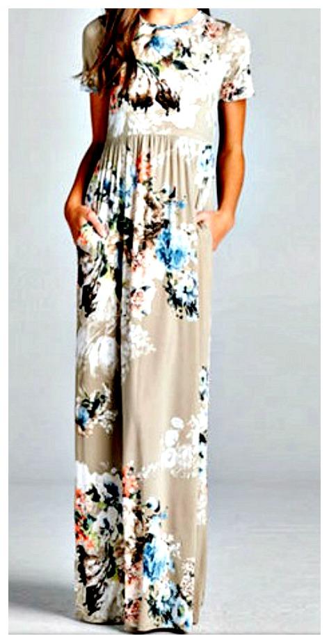 MAGNOLIAS BLOOM DRESS Multi Color Floral Short Sleeve Beige Boho Maxi Dress