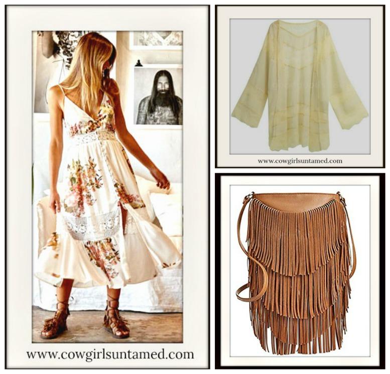 2ce353a1974 COWGIRL GYPSY Cream Lace Open Chiffon Cardigan Kimono Jacket