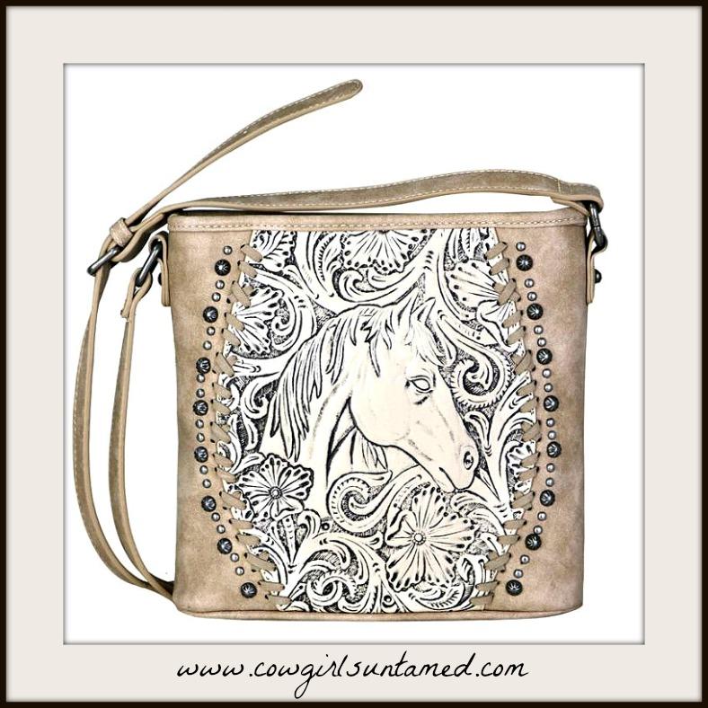 HORSE ADDICT SHOULDER BAG Horse and Floral Tooled Leather Beige Crossbody Bag