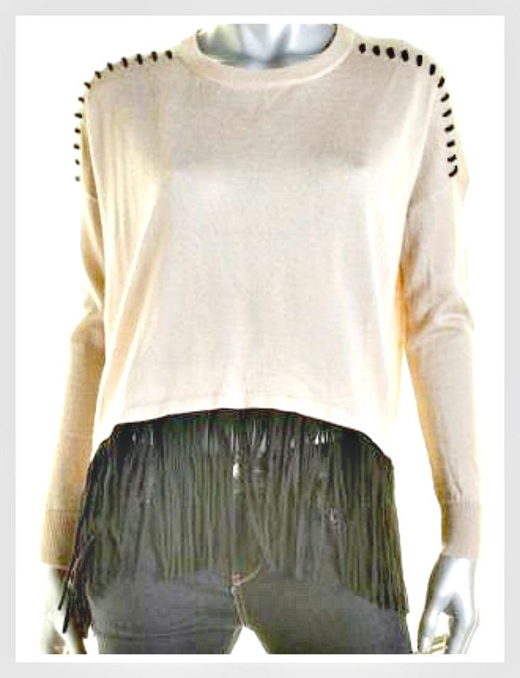 ON the FRINGE SWEATER Beige Knit Fringe Hem  Laced Shoulder Seamed Designer Sweater