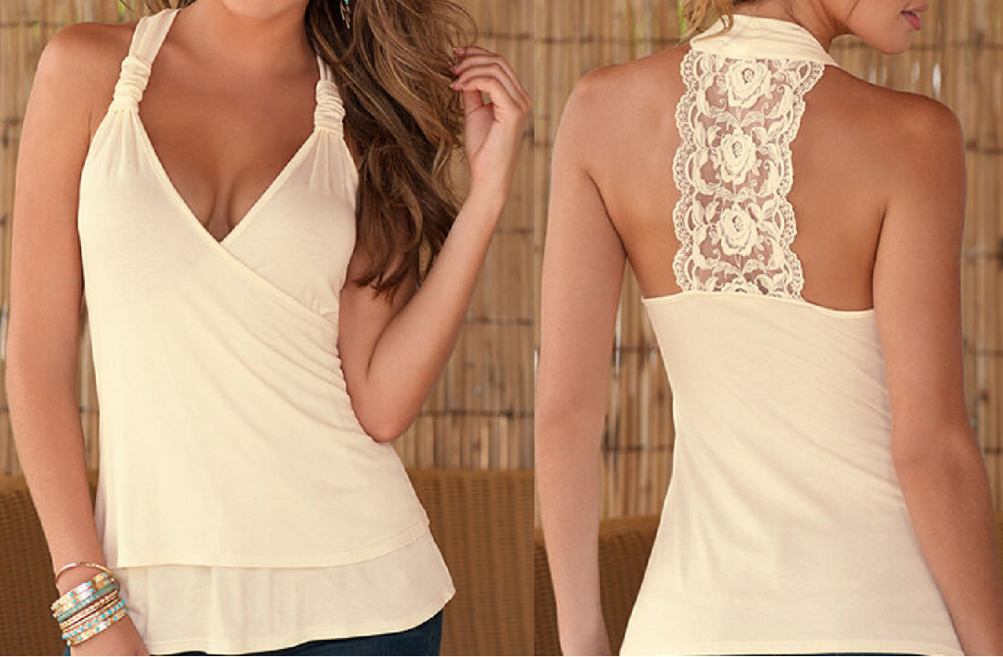 THE MADELINE TOP Lace T Strap Back Deep V Cream Sleeveless Stretchy Womens Top