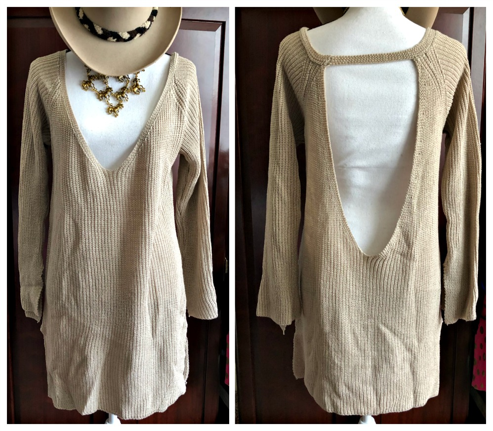 BOHEMIAN COWGIRL SWEATER Beige Open Back Long Pullover Tunic Sweater