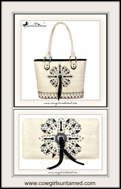 BOHO CHIC WALLET Tribal Arrow Print Studded Tassel Wallet w/ Handbag Option