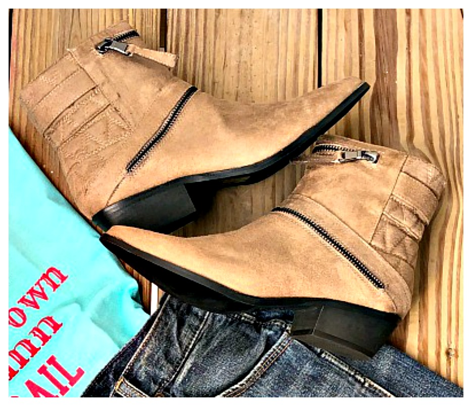 COWGIRLS ROCK BOOTS Zipper Detail Tan Suede Ankle Boots