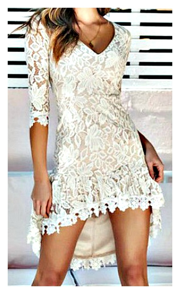 THE CECILIA DRESS Beige Lace 3/4 Sleeve High Low Hemline Party Dress