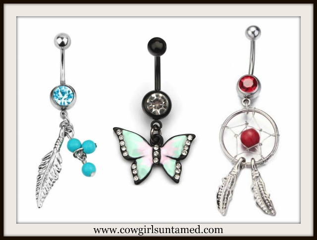 BELLY BUTTON RINGS Dreamcatcher or Butterfly or Feather Button Rings