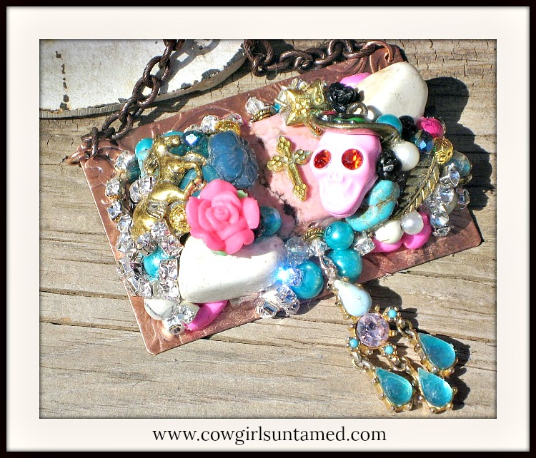 COWGIRL JUNK GYPSY NECKLACE Pink N Gold Cross Skull Horse Crystal Collage Rhinestone on Copper Embossed Plate Western Necklace