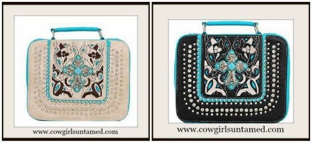 CHRISTIAN COWGIRL BIBLE COVER Turquoise and Silver Cross on Rhinestone & Silver Studded Bible Cover