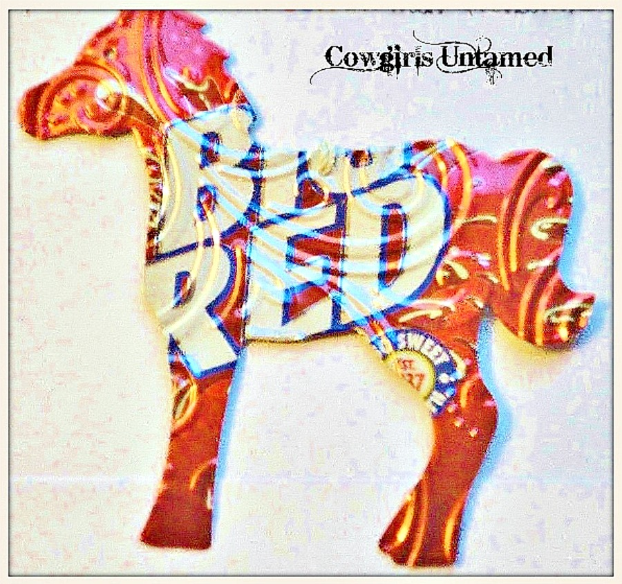 HOLIDAY HOME DECOR Handmade Red White Big Red Soda Tin Horse Western Christmas Tree Ornament