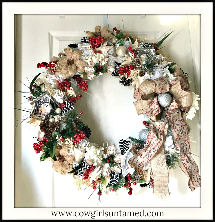 CHRISTMAS WREATH Heavily Embellished Large Burlap Red Glitter Ribbon Christmas Wreath with Battery Lights