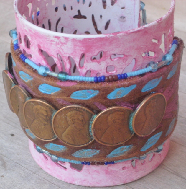 COWGIRL ATTITUDE CUFF Genuine Penny Band with Beaded Trim on Pink Filigree Metal Western Cuff Bracelet