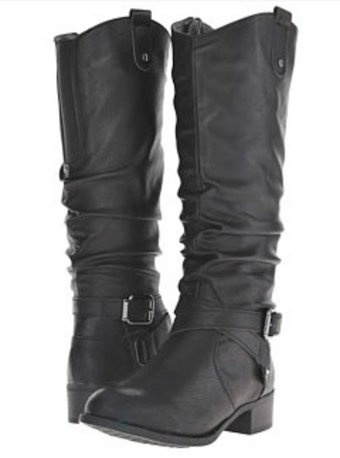 DESIGNER BOOTS Black Buckle Leather Designer Riding Boots LAST PAIR 8/8.5