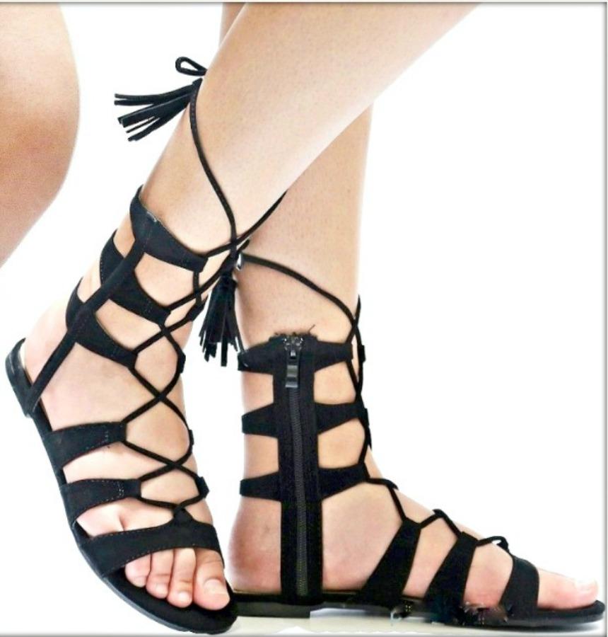 a7e142084d7 COWGIRL GYPSY SANDALS Black Strappy Gladiator Tassel Tie Flat Boho Sandals