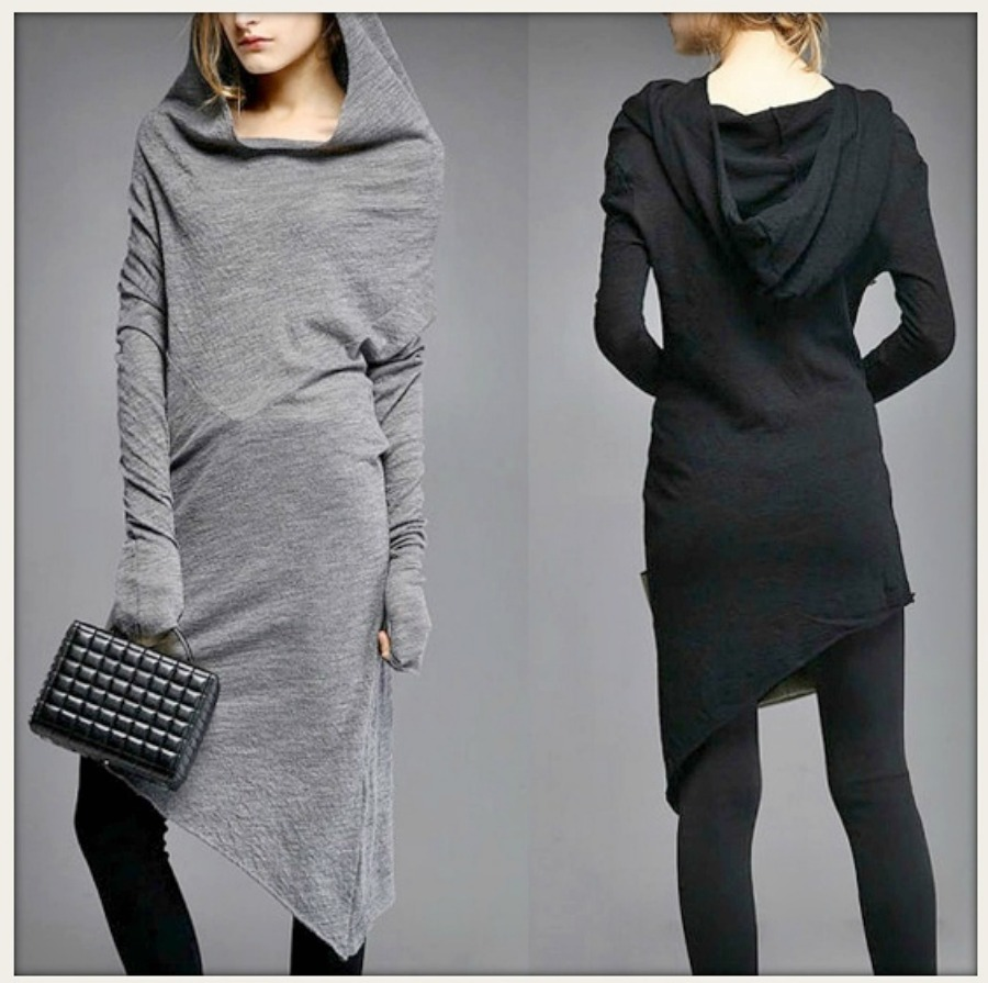 COWGIRLS ROCK DRESS Black Hooded Cowl Neck Asymetrical Dress / Tunic Top