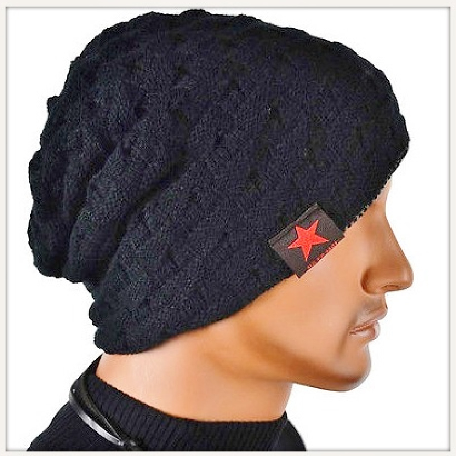 BEANIE CAP Unisex Black Warm Knit Designer Winter Cap Beanie Hat