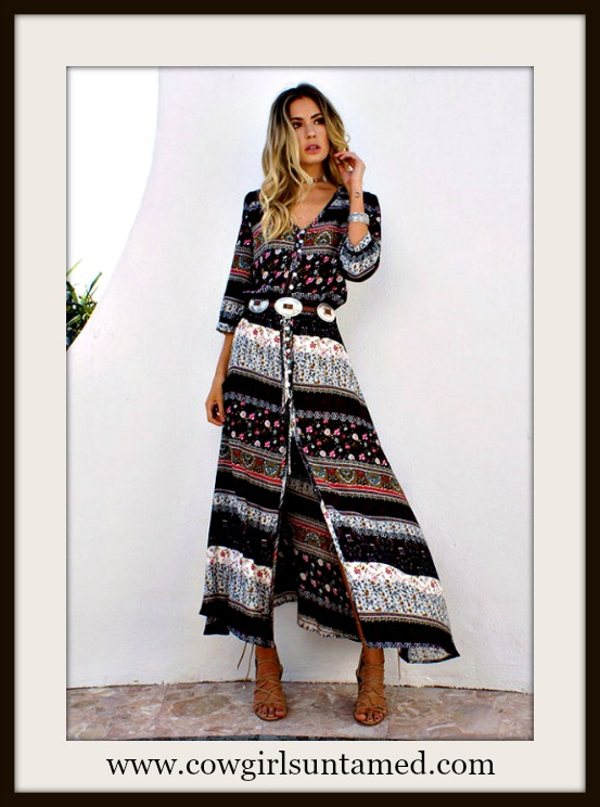 WILDFLOWER DRESS Black Mixed Pattern Stripe 3/4 Sleeve Front Slit Boho Maxi Dress