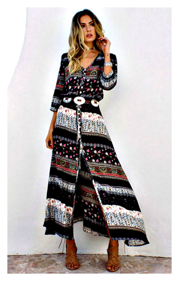 Black Mixed Pattern Stripe 34 Sleeve Front Slit Boho Maxi