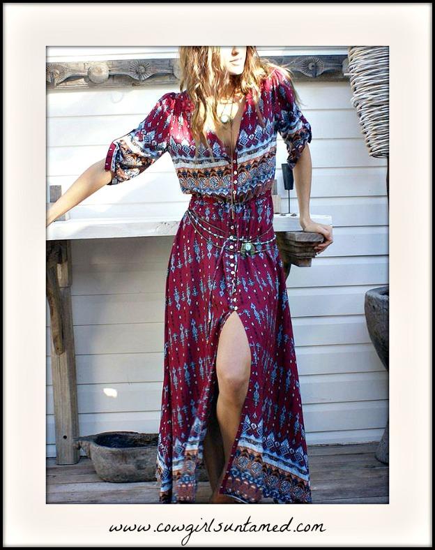WILDFLOWER DRESS Mixed Pattern V-neck Boho Maxi Dress
