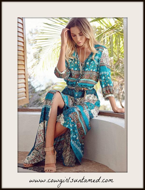 BOHEMIAN COWGIRL DRESS Floral Mixed Pattern Teal Boho Maxi Dress