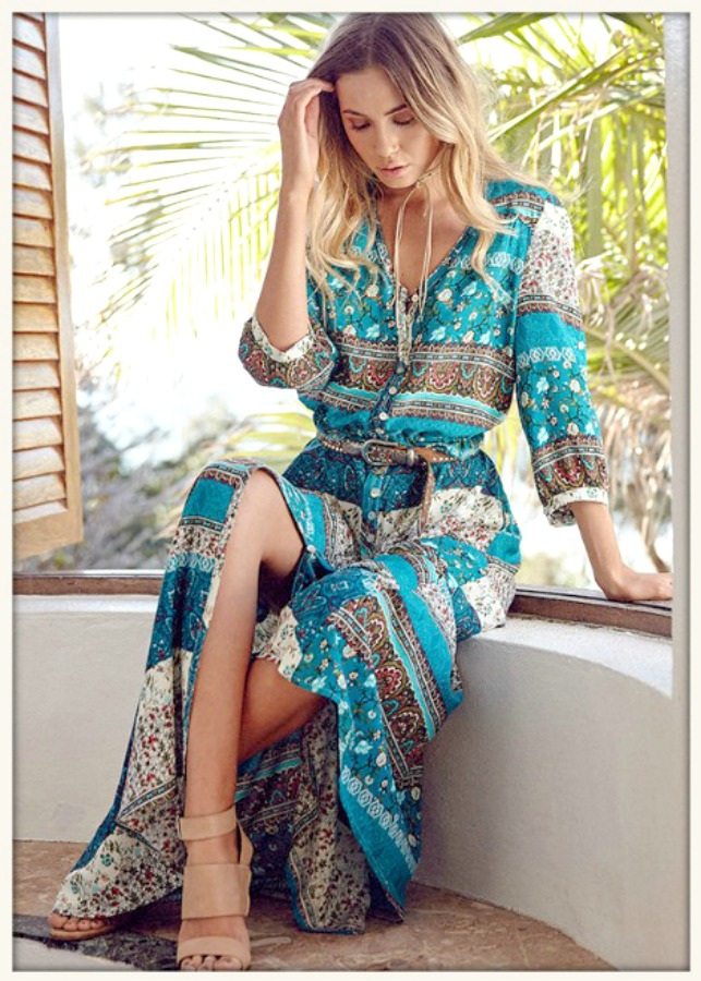 BOHEMIAN COWGIRL DRESS Floral Mixed Pattern Teal Boho Maxi Dress