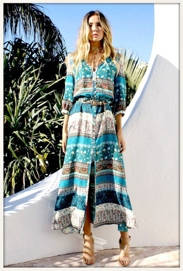 Floral Mixed Pattern Teal Boho Maxi Dress Floral Aztec