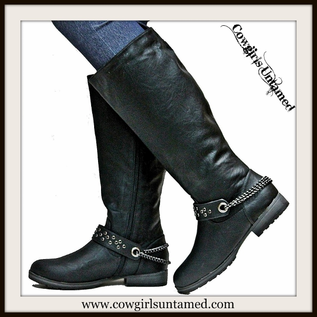COWGIRLS ROCK BOOTS Black Chain Leather Riding Boots