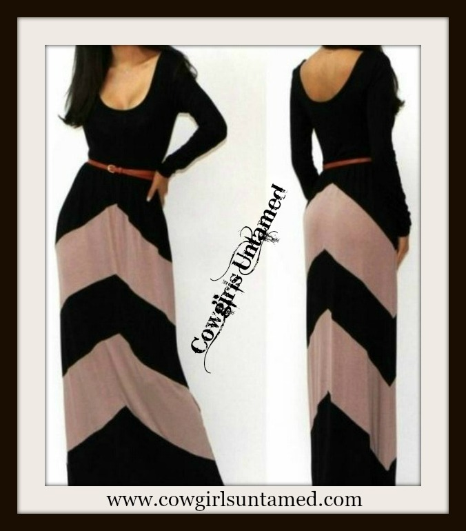 COWGIRL GYPSY DRESS Black and Taupe Chevron Stripe Long Sleeve Western Maxi Dress with FREE BELT