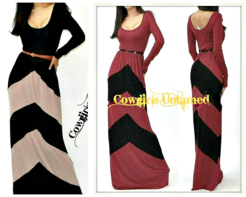 COWGIRL GYPSY DRESS Chevron Stripe Long Sleeve Western Maxi Dress with FREE BELT