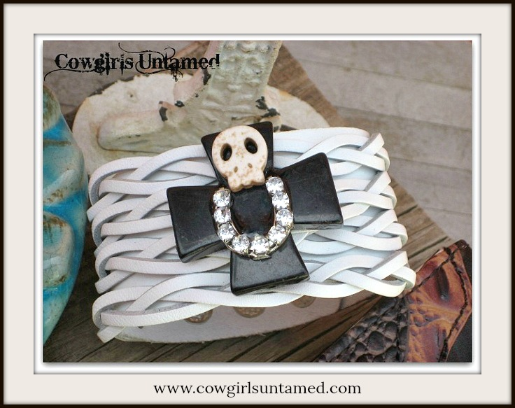 COWGIRL GYPSY CUFF Ivory Skull on Black Turquoise Cross Rhinestone Horseshoe on White Leather Cuff Bracelet