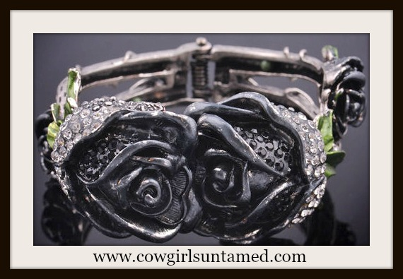 COWGIRL GYPSY CUFF Crystal Rhinestone Black Rose Antique Silver Cuff Bracelet