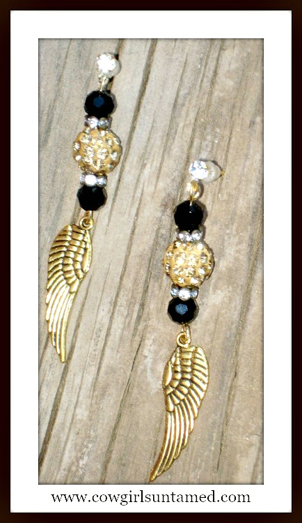 COWGIRL GYPSY EARRINGS Gold Angel Wing Charm Rhinestone Black Crystal Earrings