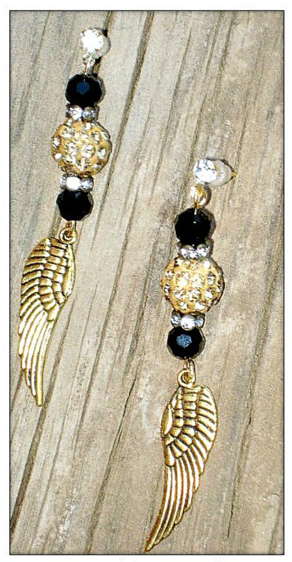 COWGIRL GYPSY EARRINGS Gold Angel Wing Charm Rhinestone Black Crystal Earrings
