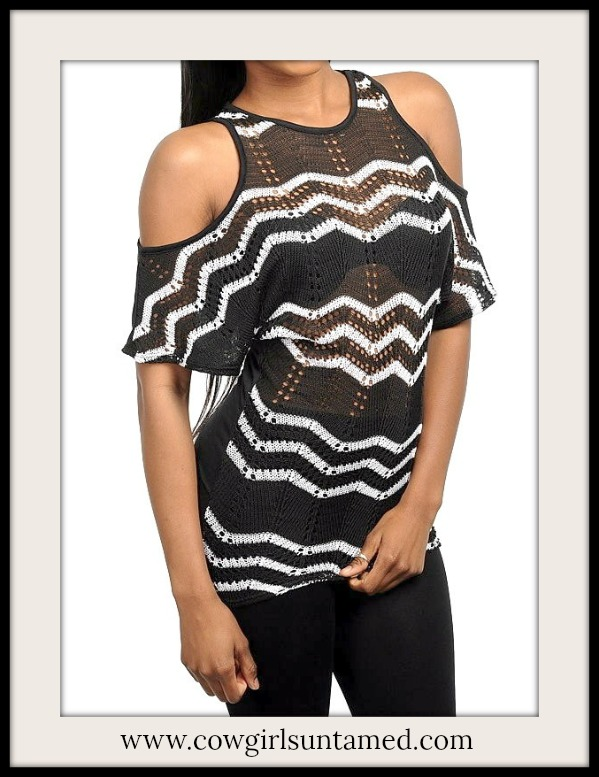 COWGIRL STYLE TOP Black & White Chevron Stripe Cut Out Shoulder Short Sleeve Knit Western Top