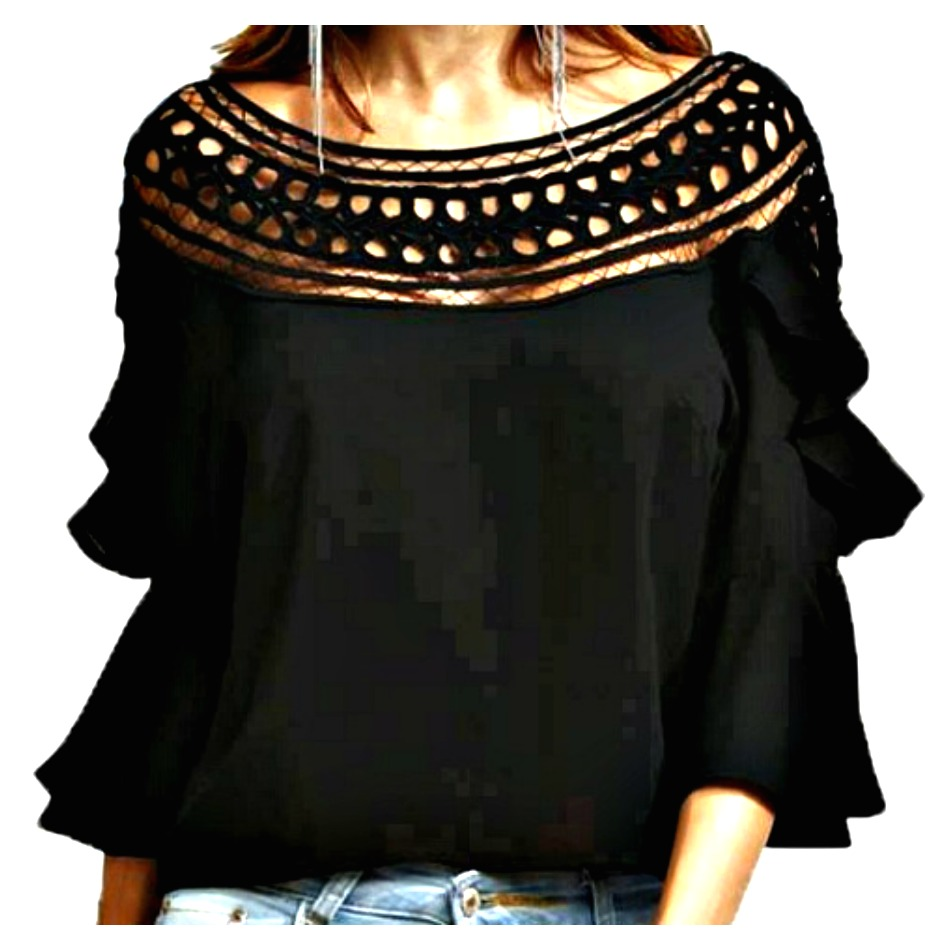 THE SAVANNAH TOP Black Crochet Neckline 3/4 Ruffle Bell Sleeve Boho Top