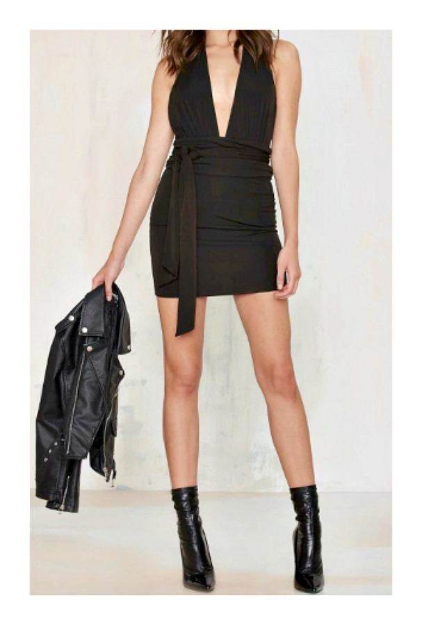 DESIGNER DRESS Black Deep V Neck Wrap Designer Mini Dress