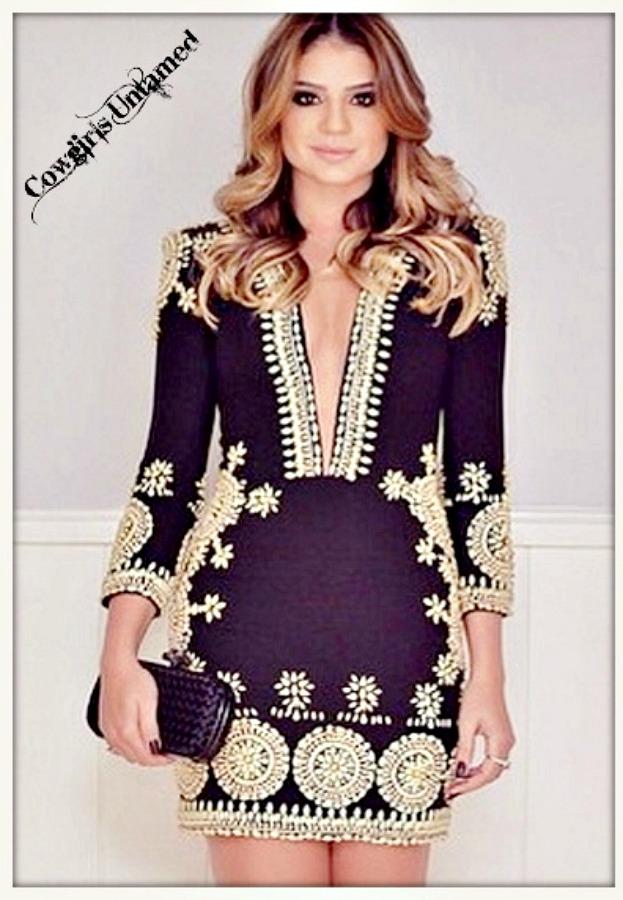 COWGIRL GYPSY DRESS Black Deep V Neck 3/4 Sleeve Boho Design Sexy Mini Dress  LAST ONE L/XL