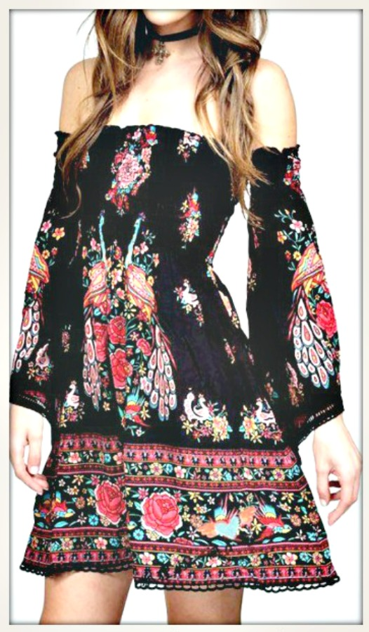 COWGIRL GYPSY DRESS Floral Bell Sleeve Smocked Top Boho Mini Dress