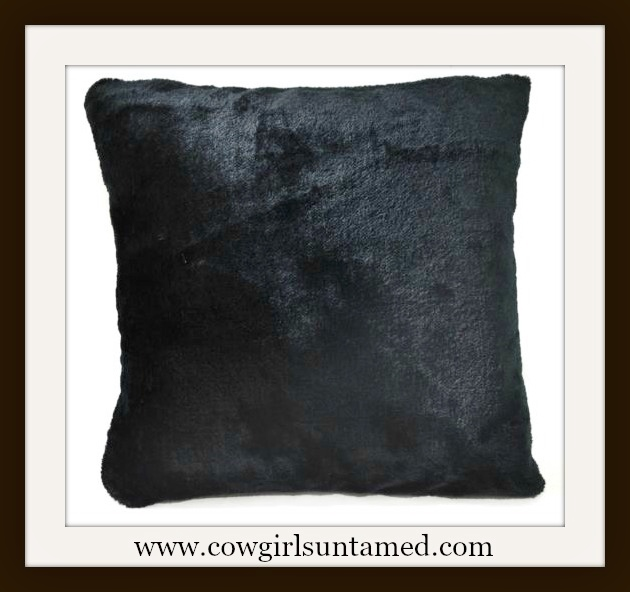 "COWGIRL GYPSY DECOR Black Faux Fur 16""x16"" Pillow Case"