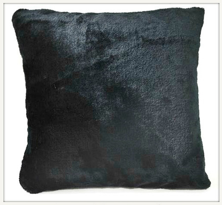 "WESTERN COWGIRL HOME DECOR Black Faux Fur 16""x16"" Pillow Case"