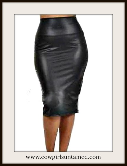COWGIRLS ROCK SKIRT Black Faux Leather Fitted Stretchy Midi Skirt
