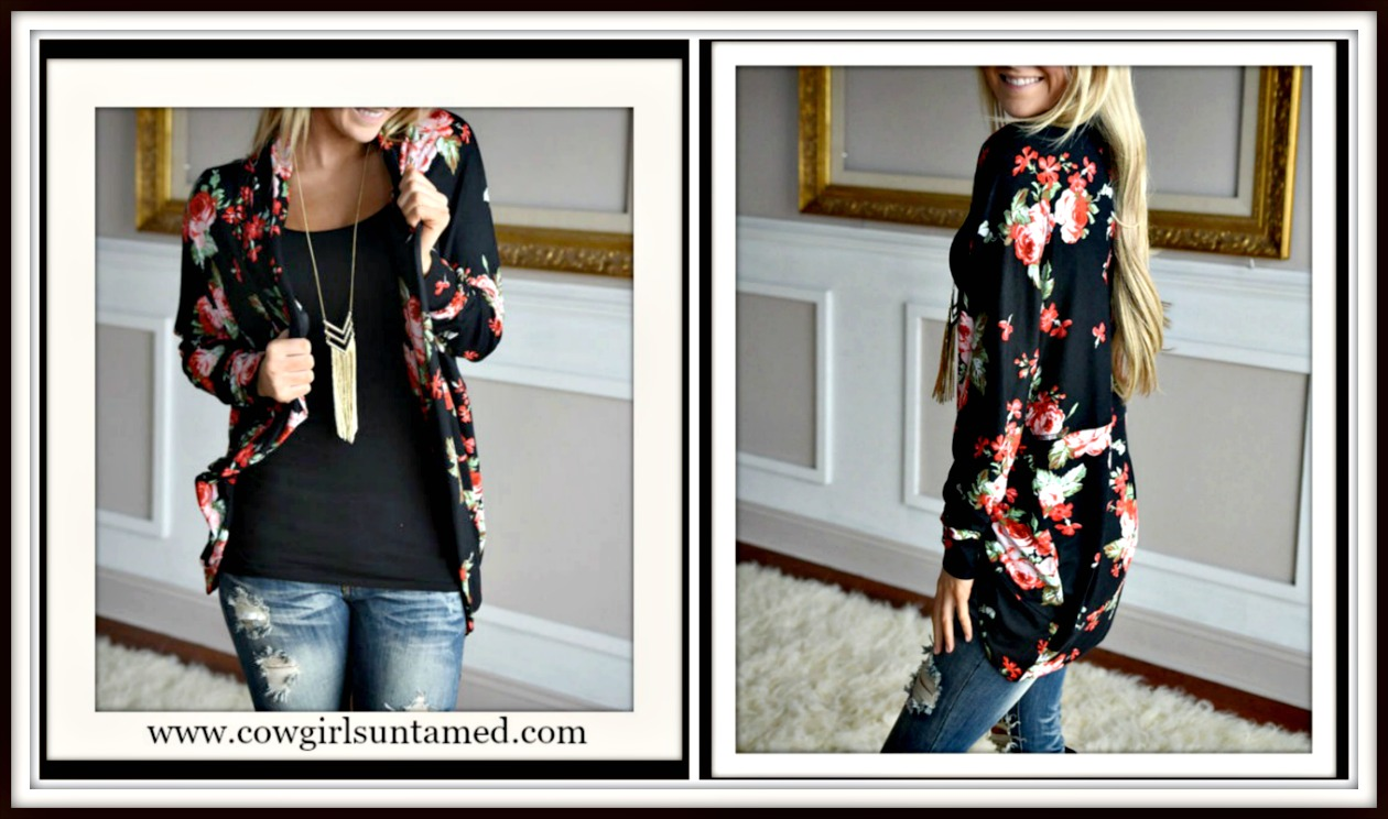 COWGIRL STYLE JACKET Multi Color Floral Black Open Cardigan