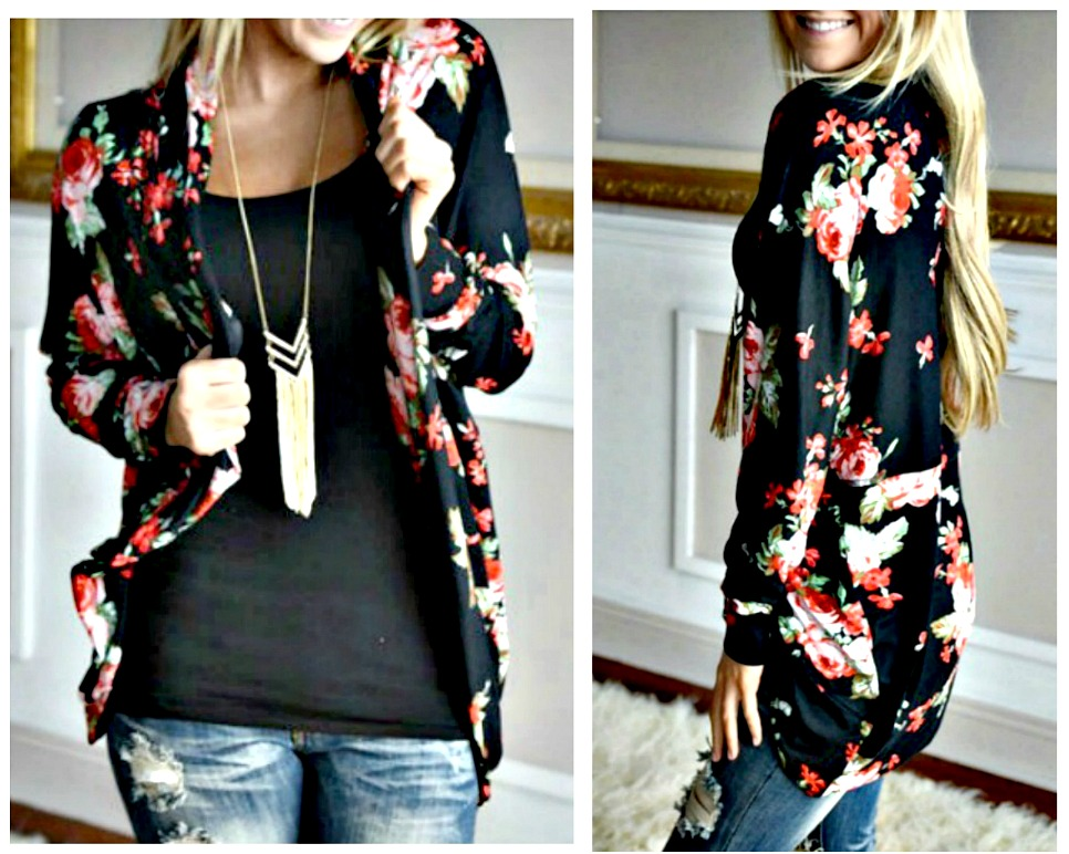 THE JACKIE CARDIGAN Multi Color Floral Black Open Cardigan Jacket
