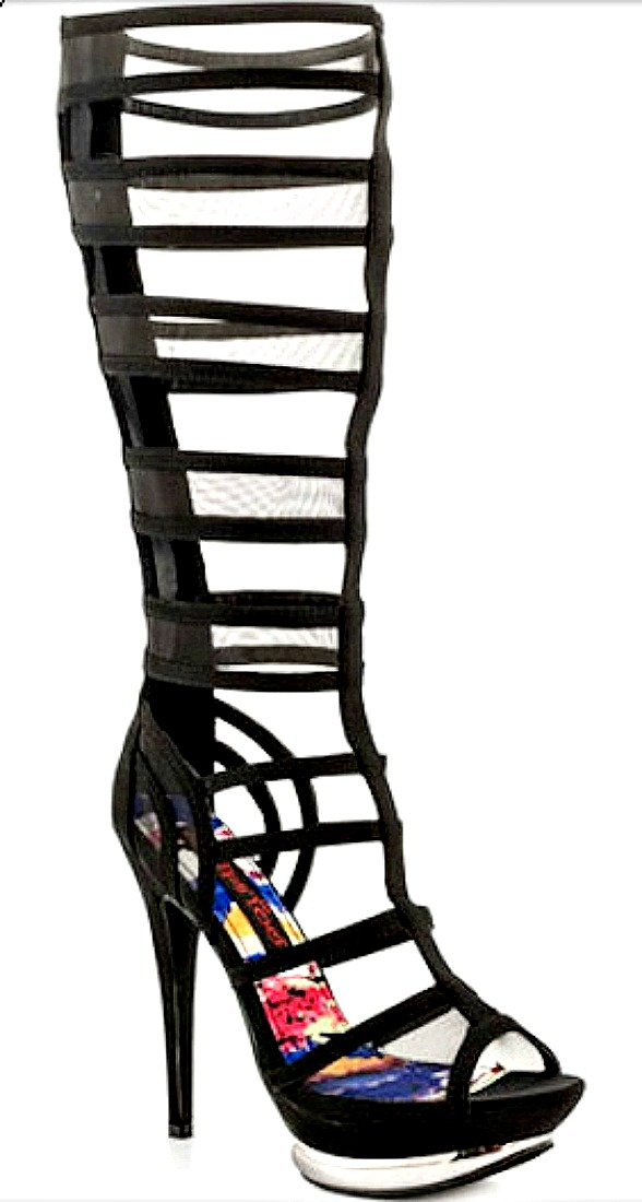 TOO AMPLIFY SHOES Black Satin & Mesh Sexy Gladiator Heels 2 COLORS  LAST PAIRS