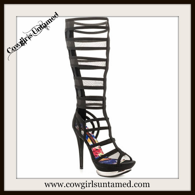 COWGIRL GYPSY SHOES Black Satin & Mesh Sexy Gladiator Heels