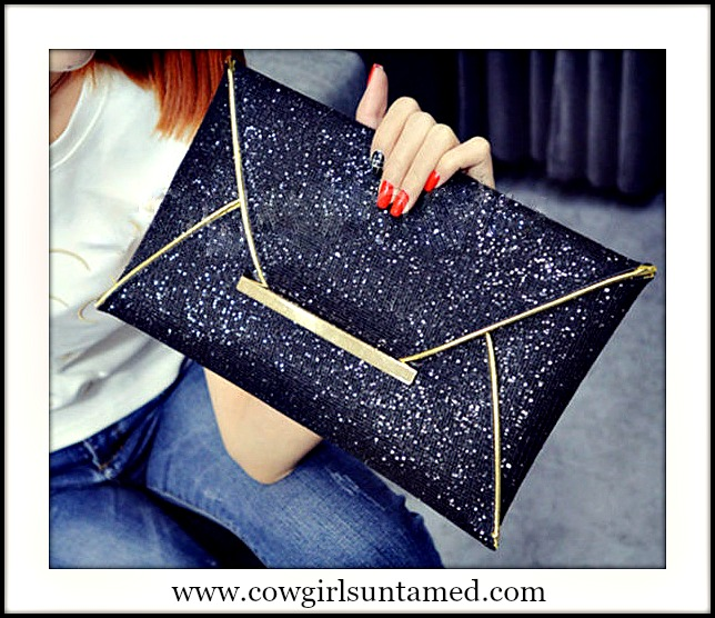 TOUCH OF GLAM CLUTCH Golden Trim on Black Sparkle Clutch Purse