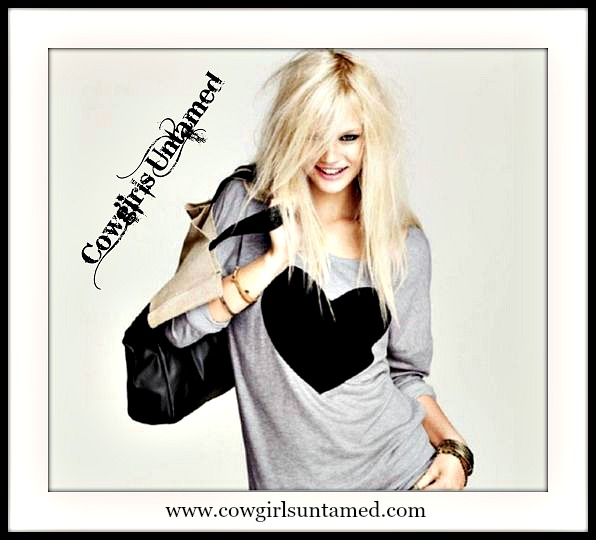 COWGIRL STYLE TOP Black Heart on Grey Long Sleeve Western Top