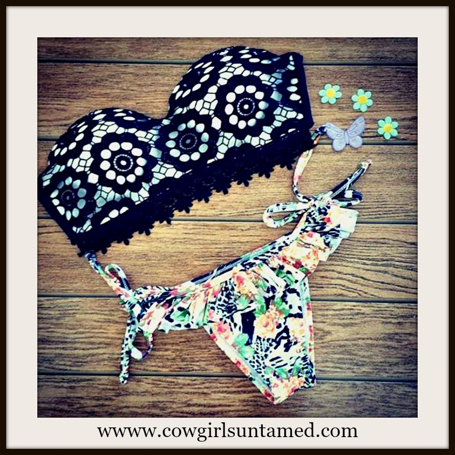 WILDFLOWER BIKINI Black Crochet Lace Bandeau Top Floral Bottom String Bikini Set